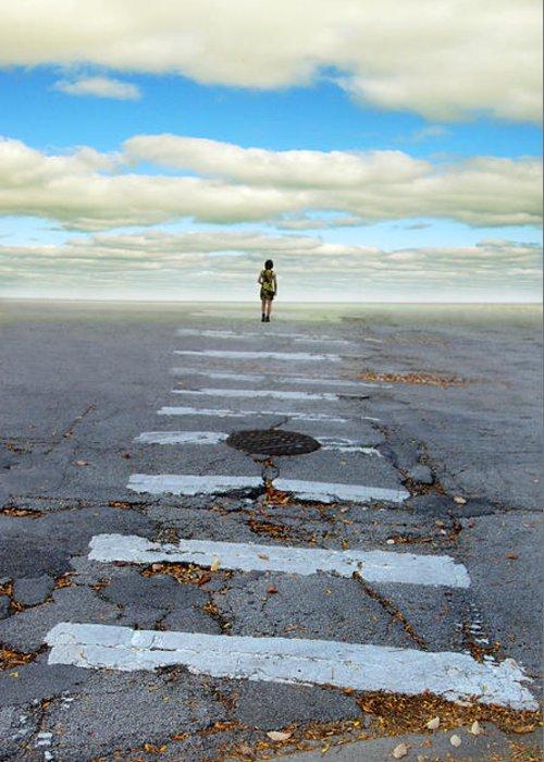 Crosswalk Greeting Card featuring the photograph Never Ending Crosswalk by Jill Battaglia