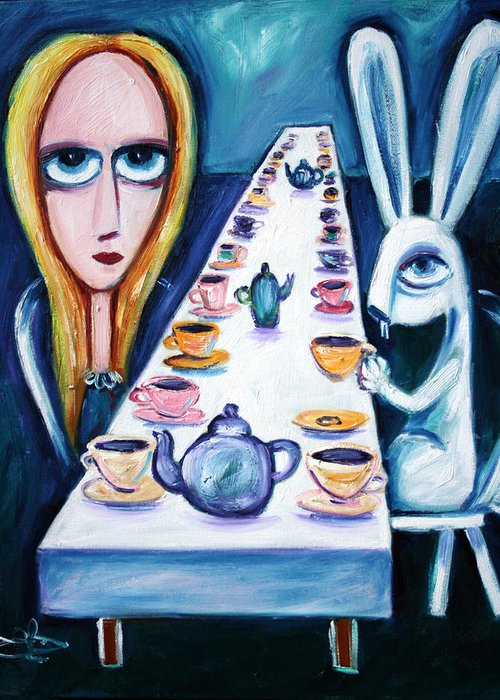 Alice In Wonderland Alice Greeting Card featuring the painting Never Ending Tea Party by Leanne Wilkes
