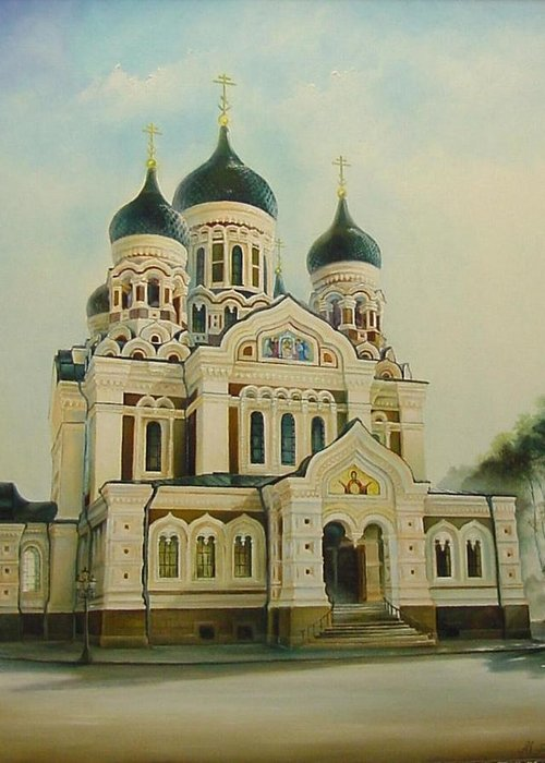 Citiscapes Greeting Card featuring the painting Nevsky Catedral by Ahto Laadoga