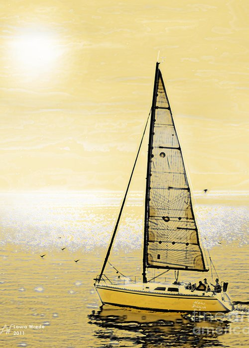 Sailing Greeting Card featuring the painting New Dawn by Artist and Photographer Laura Wrede