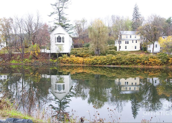 Quichee Falls Greeting Card featuring the photograph New England Reflections 3935 by Charles Ridgway