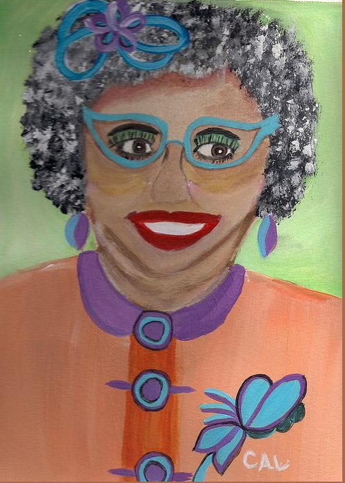 Portrait Greeting Card featuring the painting New Glasses by Carol Lunsford