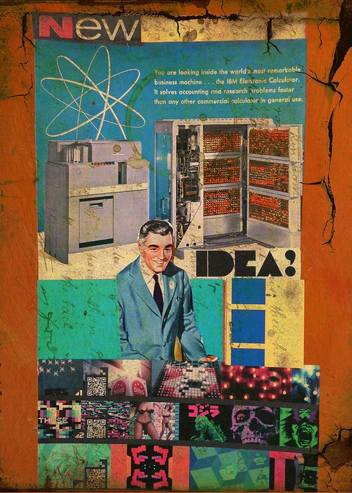 Collage Greeting Card featuring the mixed media New Idea by Adam Kissel