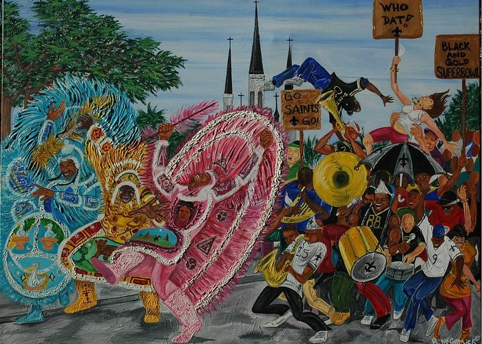 New Orleans Greeting Card featuring the painting ''new Orleans Secondline'' by Mccormick Arts