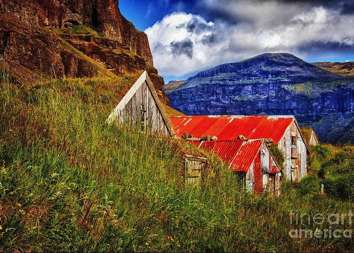 Iceland Turf Frams History Greeting Card featuring the photograph New Turf Farm Look by Rick Bragan