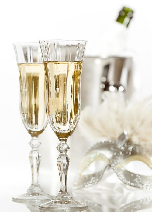 Champagne Greeting Card featuring the photograph New Year Champagne by Amanda Elwell