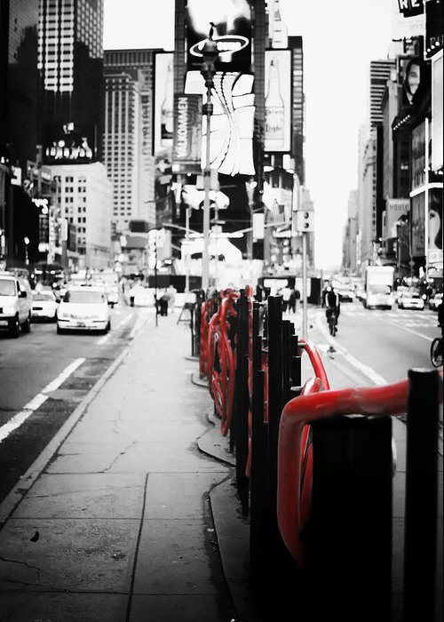 Black and white photography nyc greeting card featuring the photograph new york times square black
