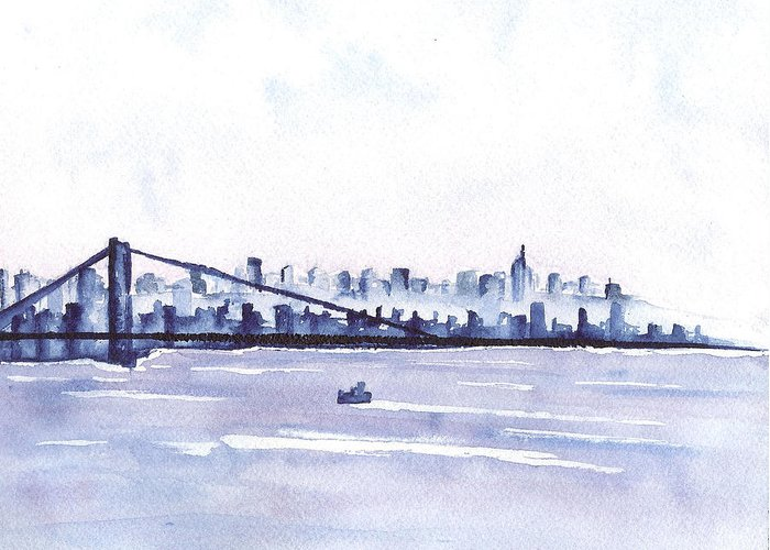 Skyline Greeting Card featuring the painting New York City Blues by Sally Reier