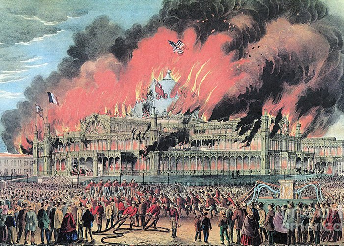 History Greeting Card featuring the photograph New York Crystal Palace Fire, 1858 by Photo Researchers