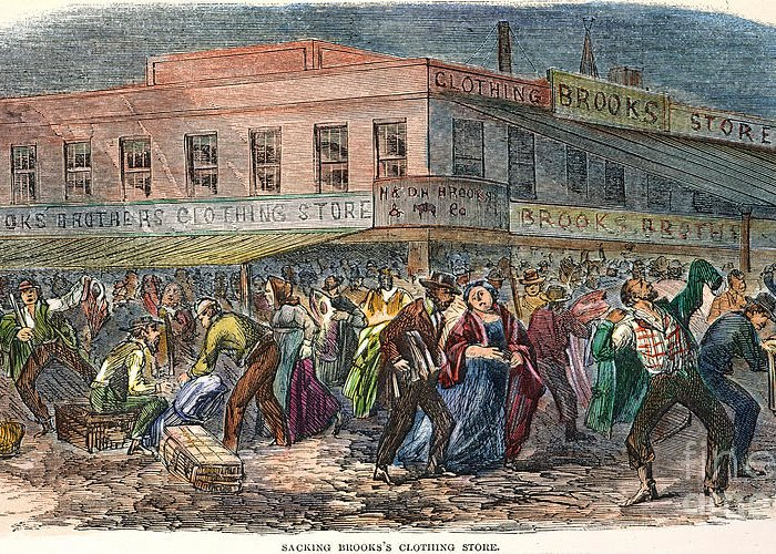 1863 Greeting Card featuring the photograph New York: Draft Riots 1863 by Granger