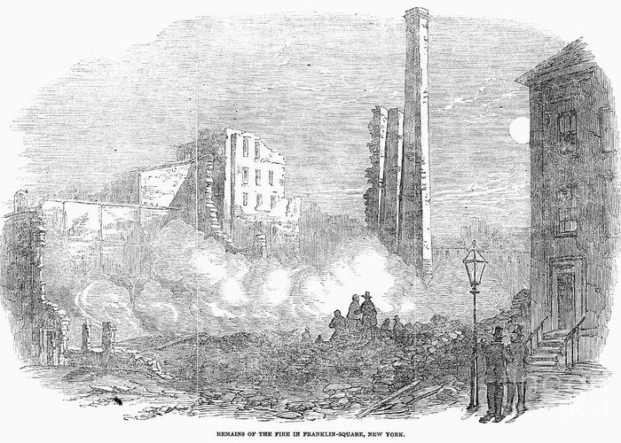 1853 Greeting Card featuring the photograph New York: Fire, 1853 by Granger