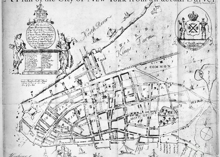 1730 Greeting Card featuring the photograph New York Map, 1730 by Granger