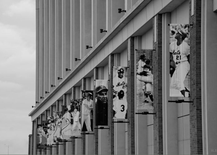 Shea Stadium Greeting Card featuring the photograph New York Mets Of Old In Black And White by Rob Hans