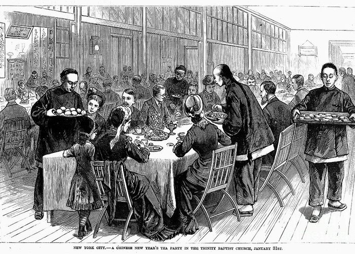 1881 Greeting Card featuring the photograph New York: New Years Party by Granger