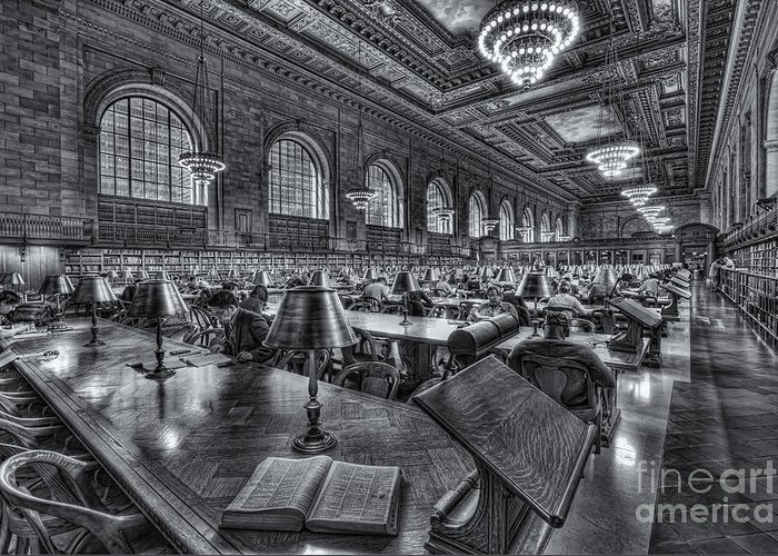 Clarence Holmes Greeting Card featuring the photograph New York Public Library Main Reading Room Vi by Clarence Holmes