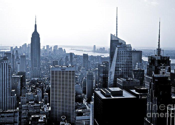 2010 Greeting Card featuring the photograph New York Skyline by Thomas Splietker