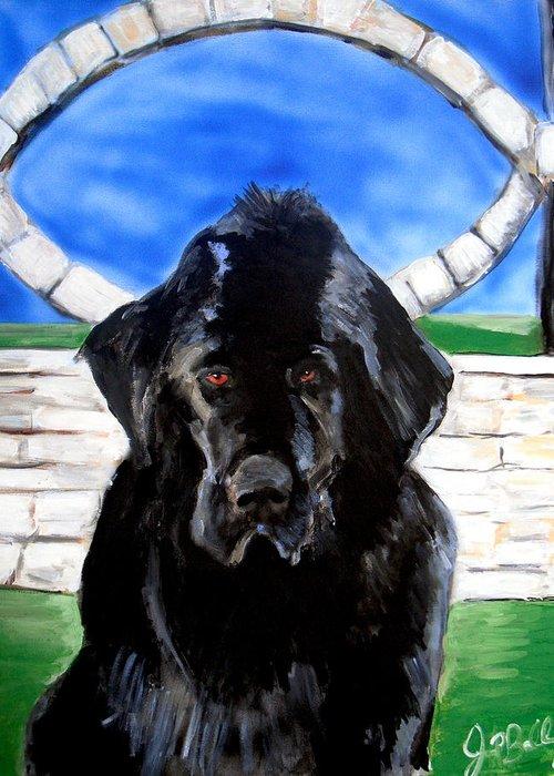 Dog Greeting Card featuring the painting Newfoundland by Jon Baldwin Art