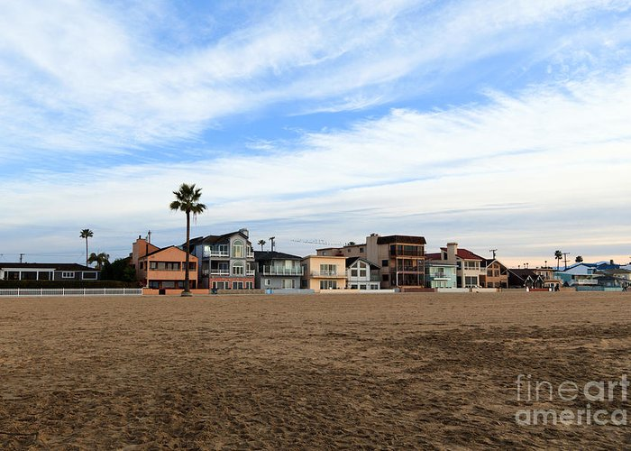 Balboa Greeting Card featuring the photograph Newport Beach Oceanfront Houses by Paul Velgos
