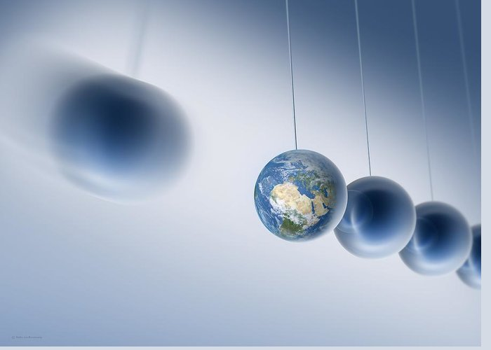 Newton's Cradle Greeting Card featuring the photograph Newtonian Earth, Conceptual Artwork by Detlev Van Ravenswaay
