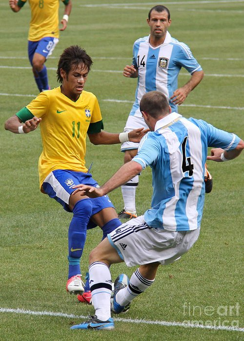 Lee Dos Santos Greeting Card featuring the photograph Neymar Doing His Thing IIi by Lee Dos Santos