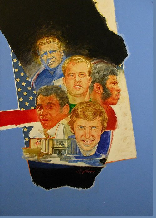 Acrylic Painting Greeting Card featuring the painting Nfl Hall Of Fame 1986 Game Day Cover by Cliff Spohn