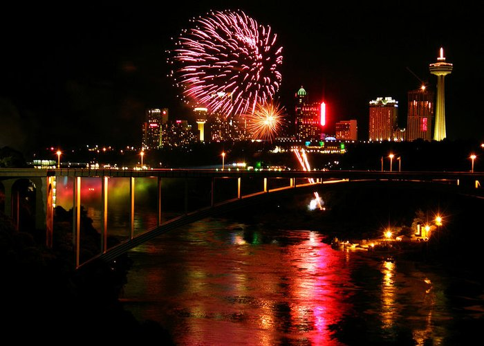 Niagara Falls Greeting Card featuring the photograph Niagara Falls Fireworks by Mark J Seefeldt