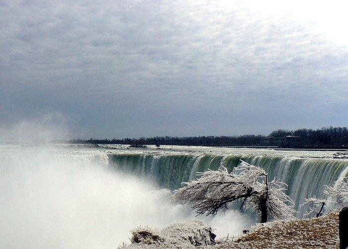 Waterfall Water Ice Winter Spray Nature Greeting Card featuring the photograph Niagra Rush by Loreena Rick