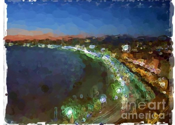 Landscapes Greeting Card featuring the painting Nice - France by Franck Guarinos