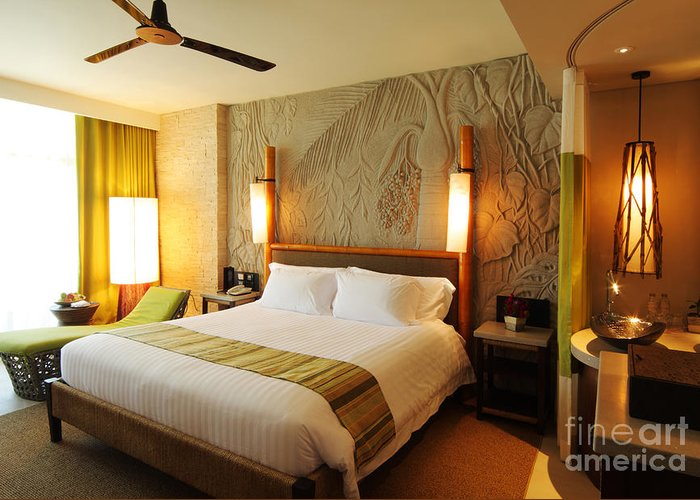 Hotel Greeting Card featuring the photograph Nice Hotel-room by Atiketta Sangasaeng