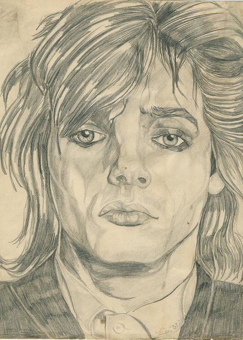 Nick Rhodes Greeting Card featuring the drawing Nick Rhodes by Allen Walters