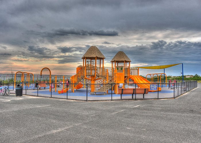 Beach Greeting Card featuring the photograph Nickerson Beach Play Area by Dennis Clark