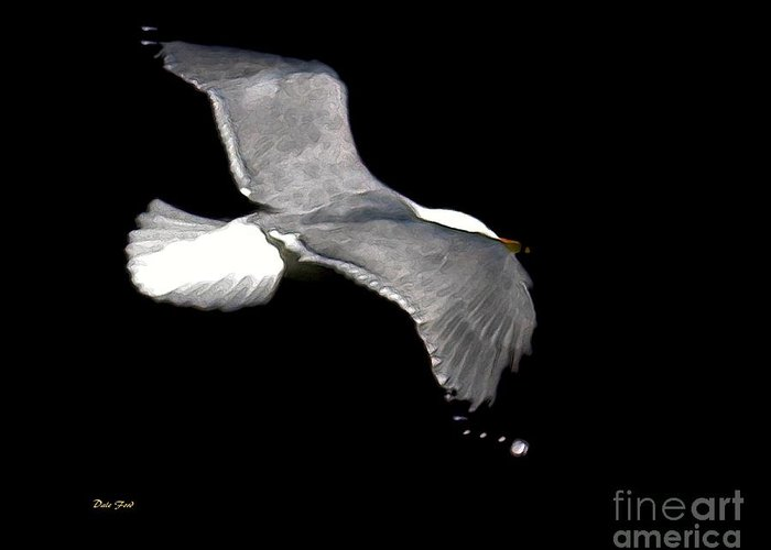 Bird Greeting Card featuring the digital art Night Flight by Dale  Ford