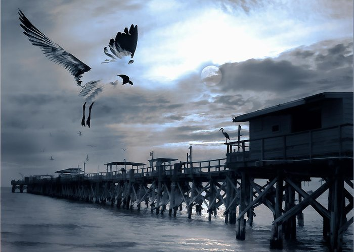 Pier Greeting Card featuring the photograph Night Landing by Stephen Warren
