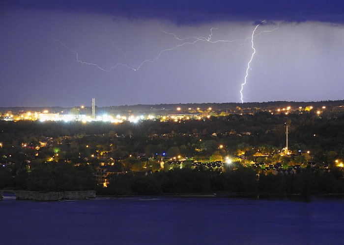 Lightning Greeting Card featuring the photograph Night Light by Tony Beck