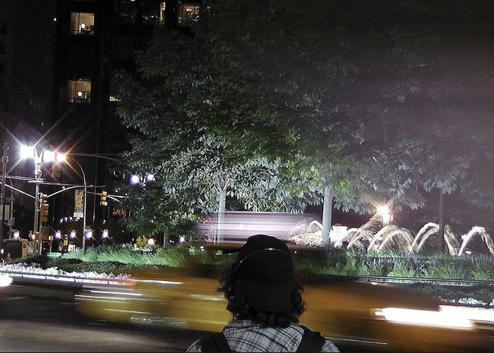 Nyc Landmarks Greeting Card featuring the photograph Night Look At Columbus Circle by Cathy Brown