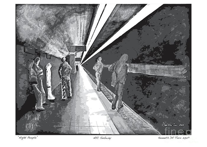 Night Greeting Card featuring the painting Night People In Black And White by Kenneth De Tore