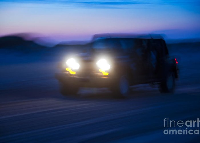4 Wheeling Greeting Card featuring the photograph Night Rider by John Greim