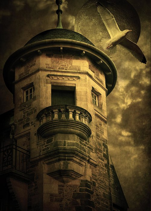 Abandoned Greeting Card featuring the digital art Night Tower by Svetlana Sewell