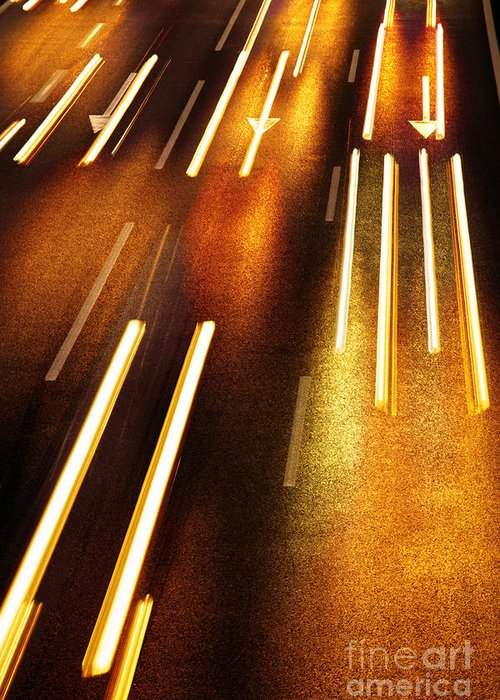 Asphalt Greeting Card featuring the photograph Night Traffic by Carlos Caetano