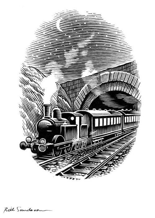 Train Greeting Card featuring the photograph Night Train, Artwork by Bill Sanderson