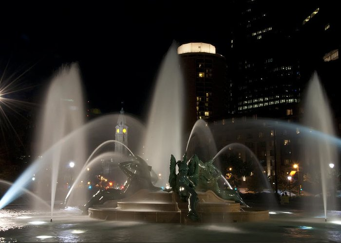 Night View Of Swann Fountain Greeting Card featuring the photograph Night View Of Swann Fountain by Bill Cannon
