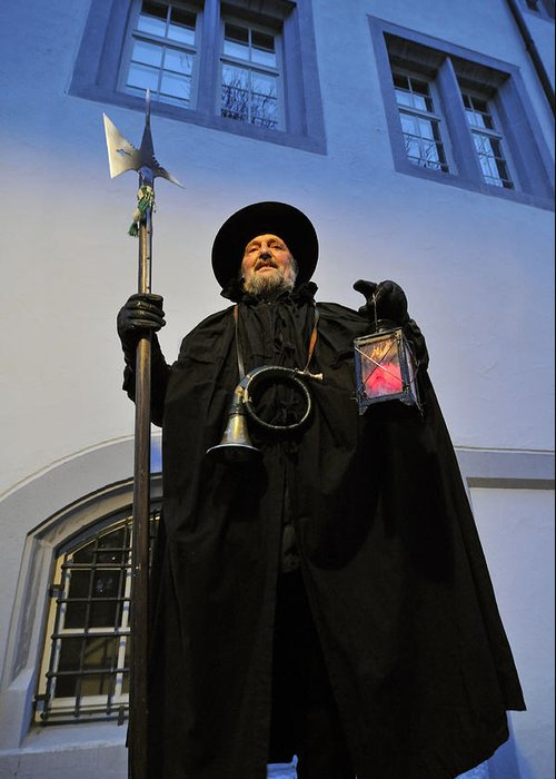 Night Watchman Greeting Card featuring the photograph Night Watchman by Matthias Hauser