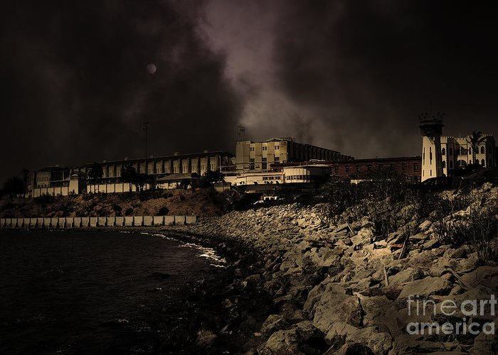 San Francisco Greeting Card featuring the photograph Nightfall Over Hard Time - San Quentin California State Prison - 5d18454 - Partial Sepia by Wingsdomain Art and Photography