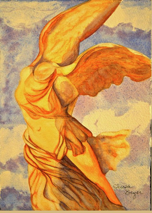 Statue Greeting Card featuring the painting Nike Goddess Of Victory by Teresa Beyer