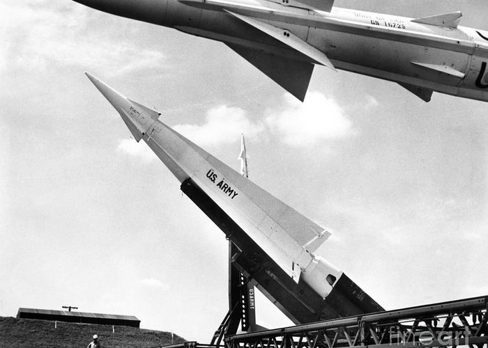 1959 Greeting Card featuring the photograph Nike Missile, C1959 by Granger