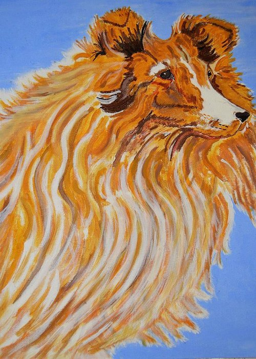 Collie Greeting Card featuring the painting Nikki by Dawn Santos