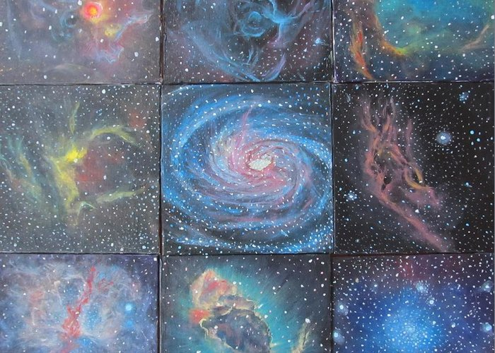 Space Greeting Card featuring the painting Nine Nebulae by Alizey Khan