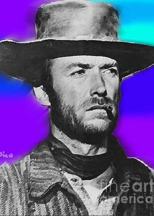 Film Greeting Card featuring the painting Nixo Clint Eastwood 1 by Nicholas Nixo