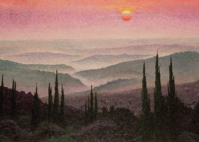 Landscape; Sunset; Mist; Cypress; Hills; Panorama; Hill; Tree; Trees; Green; Grass; Grassy; Bush; Bushes; Sun; Red Sky; Orange Sky Greeting Card featuring the painting No. 126 by Trevor Neal