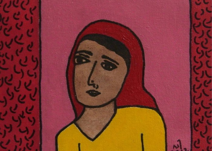 Girl Wearing A Head Scarf Greeting Card featuring the painting No. 374 by Vijayan Kannampilly